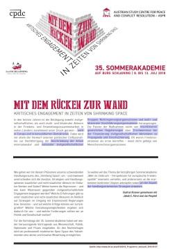 2018-09-07_ASPR_Friedensburg-Schlaining_35ste-Sommerakademie_Mit-dem-Ruecken-zur-Wand
